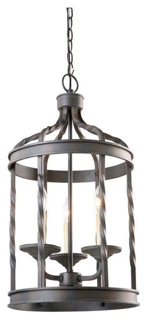 Hampton bay barcelona collection 3 light rustic iron for Houzz rustic lighting