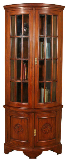 Tall Solid Mahogany Cherry Corner Bookcase Display Curio Showcase - Traditional - Home Office ...