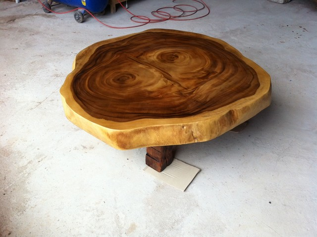 Reclaimed Acacia Wood Round Solid Slab Coffee Table By Flowbkk Contemporary Coffee Tables