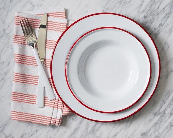 Enamelware Dinnerware, Red, Set of 4 -