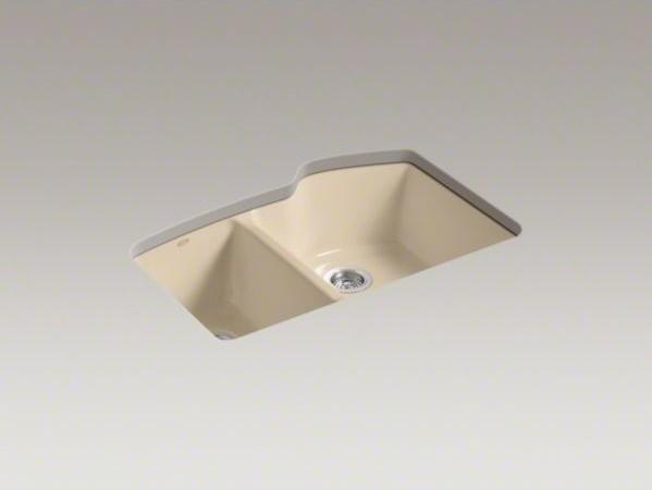 "KOHLER Wheatland(R) 33"" x 22"" x 9-5/8"" under-mount large/medium double-bowl kitc contemporary-kitchen-sinks"