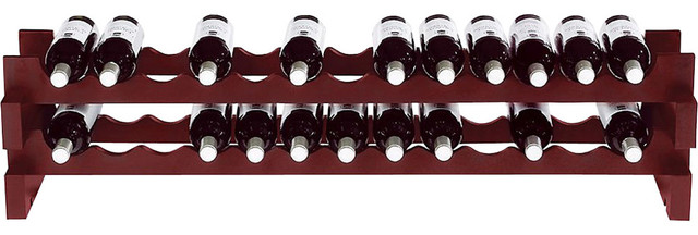 Wine Enthusiast 26-Bottle Mahogany Horizontal Stackable Hardwood Wine Rack contemporary-wine-racks