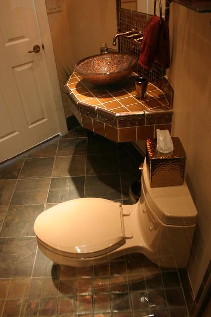 Glass Pool Bath tropical-bathroom
