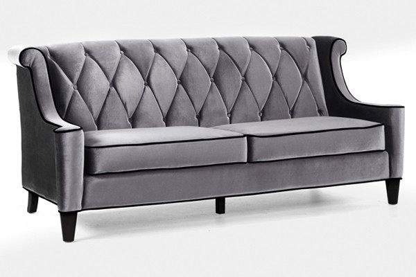 Armen Living - Barrister Button-Tufted Occasional Loveseat in Gray - LC8442GRAY transitional-love-seats