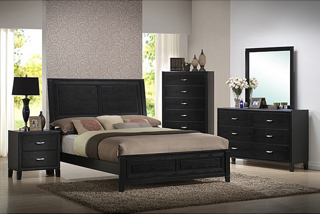 Brooklyn 5 piece queen size bedroom set contemporary for All black bedroom furniture