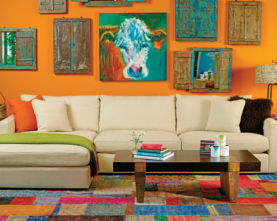 Miller Sectional - Color Block Party - Clean, Modern Miller Sectional help balances the pop of orange color in this setting.