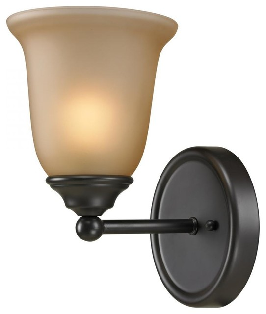 One Light Oil Rubbed Bronze Amber Glass Bathroom Sconce contemporary-bathroom-lighting-and-vanity-lighting