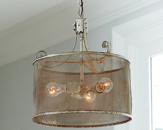 Ballard Designs - Geneva 3-Light Pendant - Hand crafted with intentional indentations and uneven texture. No two are exactly alike. Dark espresso undertones. Looks great with vintage-style bulbs, LI059 (sold separately). Get the rustic-chic look with our Geneva Pendant. Fine mesh drum shade encircles a single bulb, softly filtering the light. Antiqued metal details and a heavily distressed ivory finish give this fixture vintage charm.Geneva Pendant features: . . . .