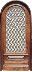 Antique Arched Single Solid Door Wrought Iron Inse