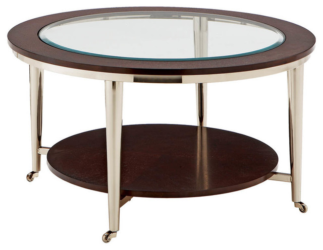 Norton Cocktail Table Glass Top 35in Round Transitional Coffee Tables By Modern
