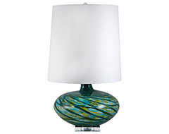 Contemporary Swirl Blue Art Glass Table Lamp contemporary-table-lamps