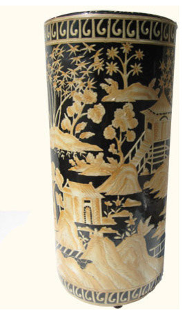 """18""""H Hand Painted Chinese Porcelain  Umbrella Stand with Landscape Design asian-coat-stands-and-umbrella-stands"""