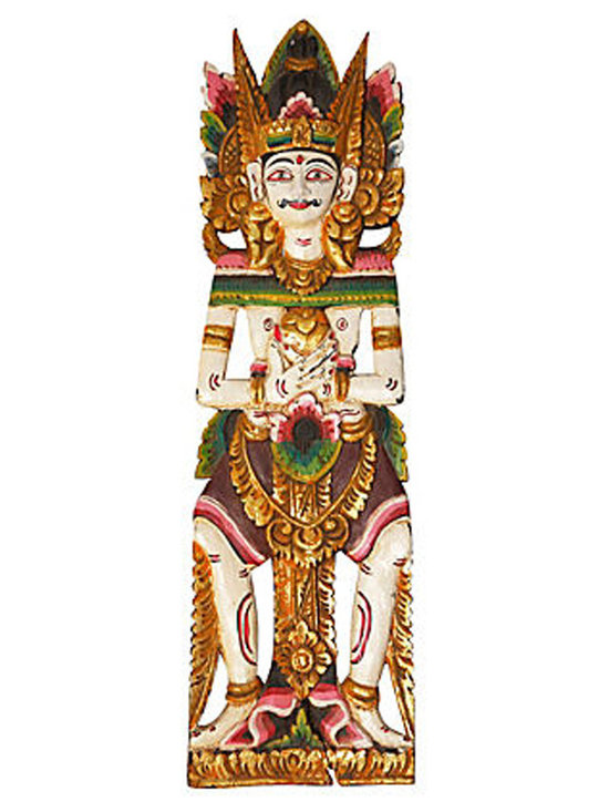 Hindu God - Wood carved Hindu God has been carefully hand-painted to reveal intimate details of carving and body structure.