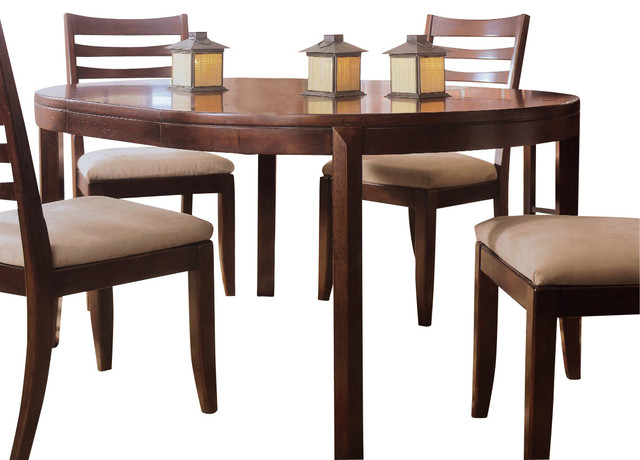 American Drew Tribecca Round Leg Table in Root Beer Color traditional-dining-tables