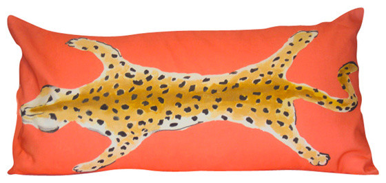 Dana Gibson Orange Leopard Lumbar Pillow eclectic-decorative-pillows