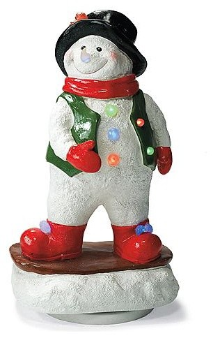 Snowboarding Rotating Snowman - Outdoor Christmas Decorations traditional-outdoor-holiday-decorations