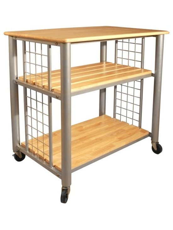 Catskill - Expo Kitchen Cart Multicolor - 80037 - Shop for Carts from Hayneedle.com! The Expo Kitchen Cart is compact efficient and exceptionally stylish. This kitchen cart is made of a fine hardwood with an attractive oil finish and has a sturdy tubular steel construction for support. It also has two slatted shelves for all your storing and shelving needs. Each side consists of metal racks with S hooks. This cart is equipped with 3 inch locking caster wheels so you can easily move it from room to room and park it wherever you please. Catskill Craftsmen's Eco-friendly PracticesCatskill Craftsmen is committed to protecting the environment through responsible forest management and manufacturing practices. Located in the Catskill Mountains of upper state New York Catskill Craftsmen plays a role in maintaining the health of the New York City watershed. This watershed provides clean water for New York City and other communities in the area. Healthy well-managed forests are better able to filter pollutants from entering streams and rivers which preserves the quality of watershed resources. With this goal in mind the company supports the efforts of the Watershed Agricultural Council (WAC). With the WAC Catskill Craftsmen encourages lumber suppliers (family forest owners and public land managers) to make wise harvesting decisions and control erosion in order to safeguard water quality.Other efforts to protect the environment include using sustainable wood sources and reducing wood waste. Catskill Craftsmen's manufactured items are made from naturally self-sustaining non-endangered North American hardwoods primarily birch and hard rock maple. All sawdust shavings and waste materials generated during the manufacturing process are converted into wood pellet fuel used to heat homes. This alternative heating source creates less ash and lower emissions than some other fuels. By operating their own wood pellet mill Catskill Craftsmen reduces their wood waste to zero. As natural resources become even more valuable Catskill Craftsmen will continue to advance proper stewardship of the pristine Catskill Mountain region.About Catskill CraftsmenFor over 60 years Catskill Craftsmen has provided customers with high-quality domestic hardwood ready-to-assemble products. Located in Stamford New York Catskill Craftsmen manufactures kitchen carts islands work centers gourmet butcher block chopping blocks cutting boards hardwood cabinets furniture book carts and racks. Catskill Craftsmen is recognized as the nation's leading manufacturer of premium wooden products.