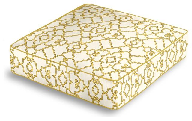 Floor Box Pillows : Yellow Scroll Trellis Box Floor Pillow - Contemporary - Floor Pillows And Poufs - by Loom Decor