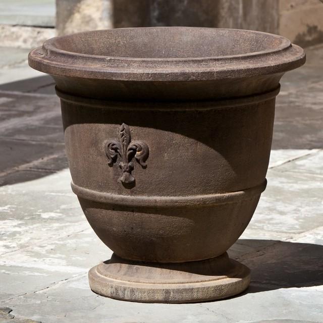 Campania International Fleur de Lis Small Cast Stone Urn Planter - P-574-AL - Contemporary ...