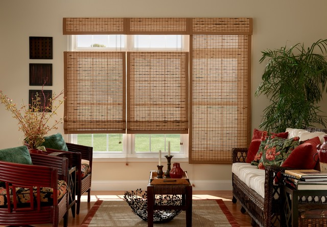Bali premium woven wood shades traditional living room for Bali motorized blinds cost
