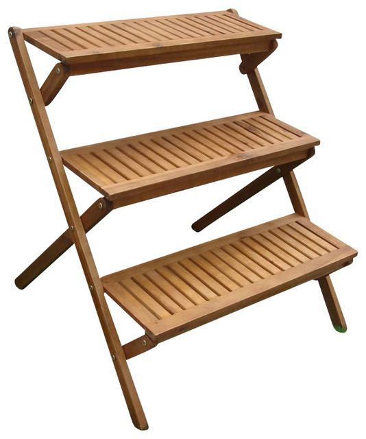Vifah Outdoor Wood 3 Layer Plant Stand Transitional Outdoor Benches By Cymax