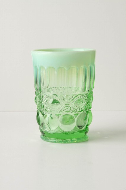 Opalescent Tumbler, Green eclectic-everyday-glassware