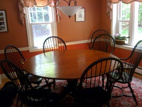 Round Table And Black Windsor Chairs In Clients Home Farmhouse Dining Tab