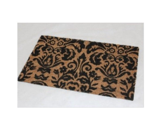 "Coir Black Scroll Baroque Doormat - Homescapes have now come out with a lovely collection of doormats. The collection is made keeping in mind a variety of tastes and preferences. There's a mat for everyone with themes like, Dog/Cat/ Horse lovers, ""Love Hearts"", ""Just Married"", union Jack, stripes, various ""welcome"" designs, Hello, goodbye and novelty mats"