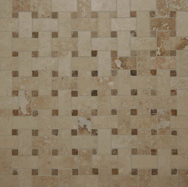Travertine Basketweave Mosaic Tiles Contemporary Mosaic Tile