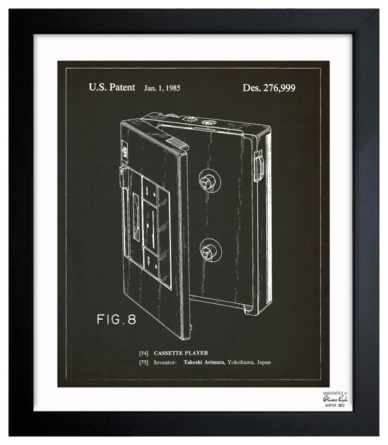 """''Cassette Player 1985' 15""""x18"""" Framed Art contemporary-prints-and-posters"""