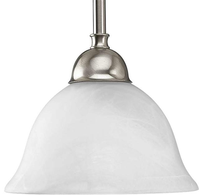 Progress Lighting P5068 09 Avalon 1 Light Mini Pendant Light In Brushed Nickel Traditional