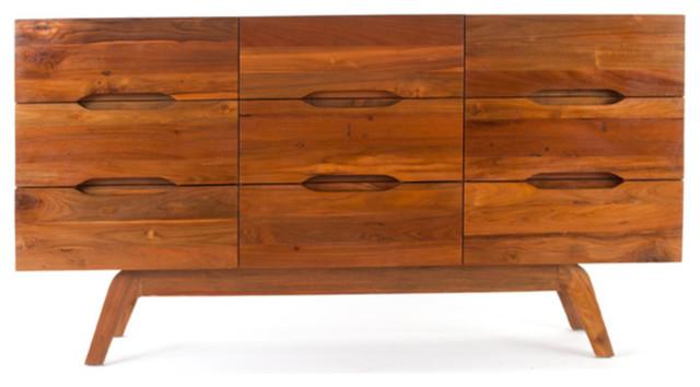 Bogart Nine-Drawer Dresser - Solid Reclaimed Teak Wood midcentury-dressers-chests-and-bedroom-armoires