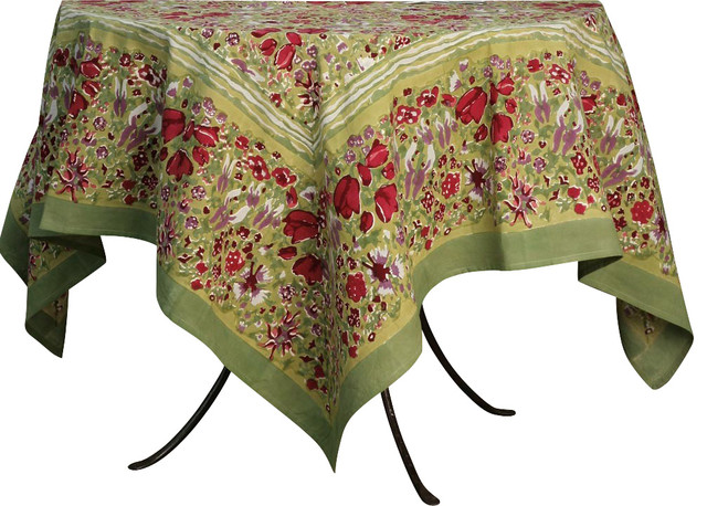 "Jardin Tablecloth, Red/Green, Rectangle, 59""x86"" traditional-tablecloths"