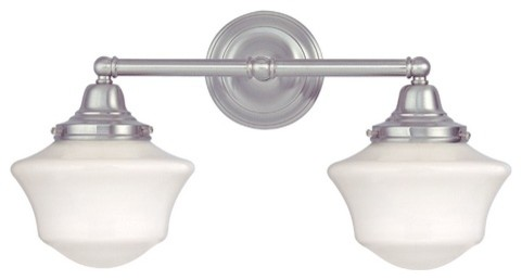 Schoolhouse Bathroom Light with Two Lights in Satin Nickel bath-and-spa-accessories