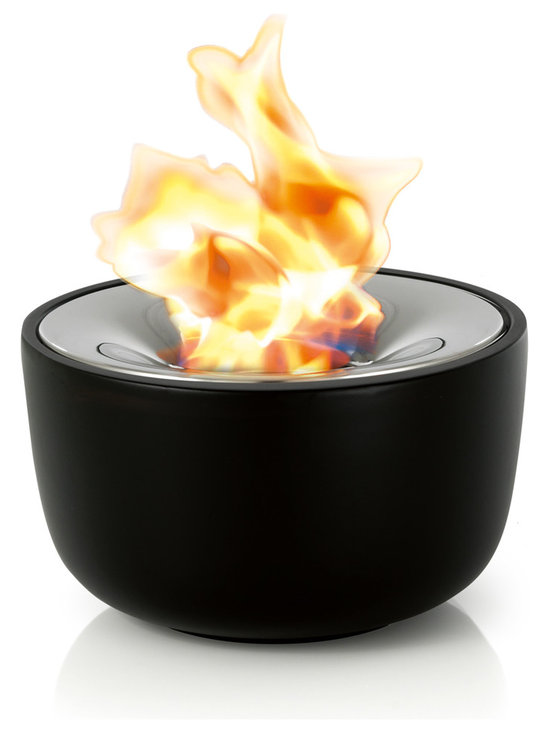 Blomus - Fuoco Tabletop Gel Firepit, Small - This tabletop gel firepit hold 2 hours worth of burning gel and includes stainless steel snuffer. Smokeless, clean burning fire suitable for indoors or out. Made of ceramic and polished stainless steel.Volume: 13.5 fluid oz. (0.4 Liter)Burns for approx 2 hours depending on wick exposure and wind condition.