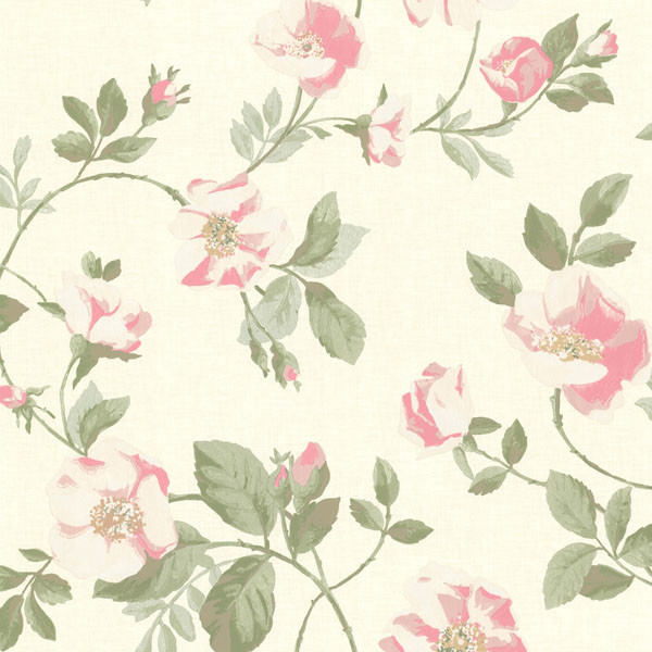 Dorothea Pink Dog Rose Trail Wallpaper. traditional-wallpaper
