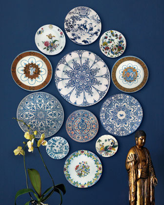 John Derian 12 Faience-Style Wall Plates traditional artwork