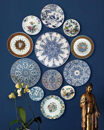 John Derian 12 Faience-Style Wall Plates traditional-artwork