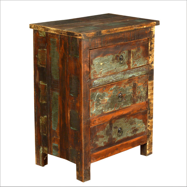 Appalachian Rustic Reclaimed Hardwood 3 Drawer Nightstand Eclectic Nightstands And Bedside