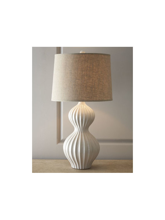 Horchow - Iota Bulb Lamp - Sculpted curves give shape to this exquisite ceramic lamp. A textured linen shade offers the perfect amount of light to add ambiance to a bedroom or living area. Add another to balance the look. Bone white ceramic and brass. Putty linen lined shade. Three-way switch on socket; uses one 150-wat