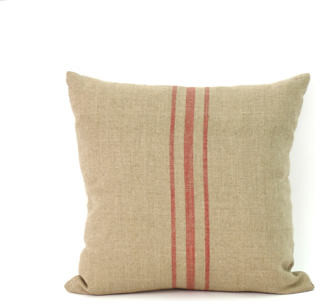 Eclectic Pillows : 24x24 Red Stripe Pillow - Eclectic - Decorative Pillows