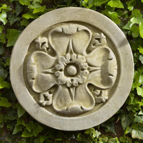 Campania International Rosette Cast Stone Outdoor Wall Art Plaque color1 Aged Li traditional-outdoor-decor