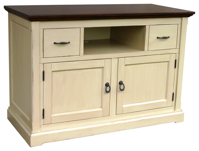 Hand painted tuscany sideboard tv console tobacco with for Butternut kitchen cabinets