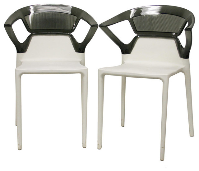 Swap white plastic modern dining chairs with grey backrest for Contemporary plastic dining chairs