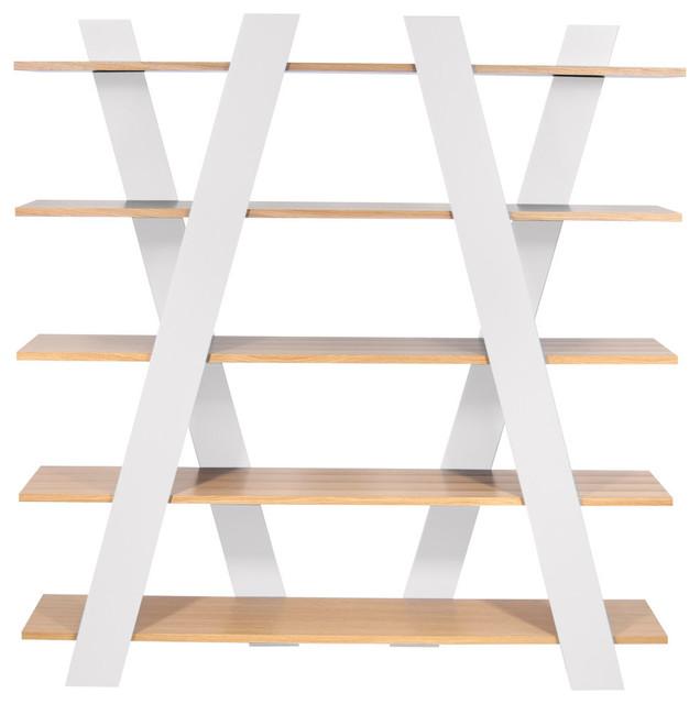Wind shelving unit oak and white modern bookcases - Modern white shelving unit ...