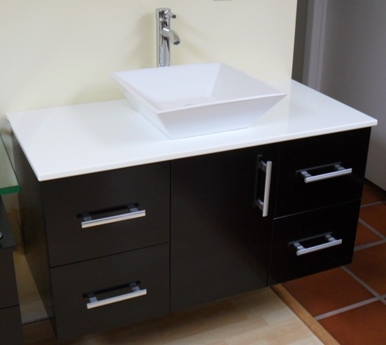 "Modern Contemporary Bathroom Vanity *WALL MOUNT*, Espresso, 42"" - Contemporary - Bathroom ..."