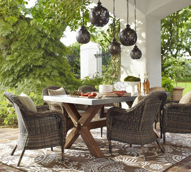 Torrey All-Weather Wicker Dining Armchair traditional outdoor chairs