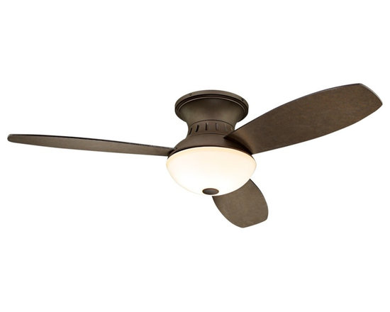 "Possini Euro Design - 44"" Encore™ Possini Euro Bronze Hugger Ceiling Fan - This 44"" Encore™ hugger-style ceiling fan from Possini Euro Design  features a trim and compact design making it ideal for use in smaller rooms. This remote control model has a bronze fan motor finish with an integrated acid and white frosted glass light kit. Change the look of the fan with the bronze finish blades. Takes three 40 watt bulbs (included).  Bronze finish motor.   Three matching bronze finish blades.   44"" blade span.  14 degree blade pitch.   153 X 18mm motor.   Lifetime motor warranty.   Integrated light kit.   Frosted white glass.   Uses three 40 watt candle base bulbs (included).   Remote control included.   Includes optional wallplate bracket (battery included).   Fan height 9.6"" blade to ceiling.   Fan height 13.6"" ceiling to light kit."