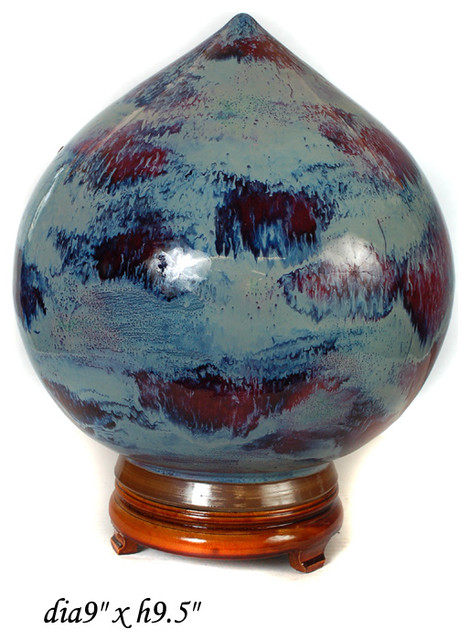 Chinese Peach Shape Flame Glaze Pottery Display contemporary-artwork