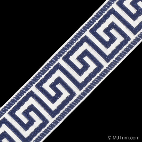 Greek Key Jacquard White Navy Traditional Fabric By